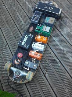 guitar pedalboard skateboard recycled pedalboard guitare en skate recyclé