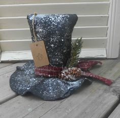 Primitive Grungy Snowman Hat Shelf Table Sitter Christmas Winter Handmade Ornie  #NaivePrimitive #Handmade