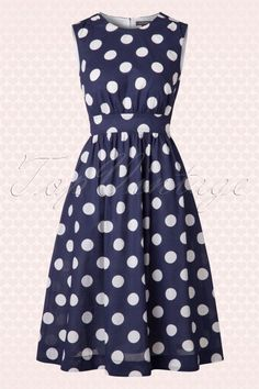 Emily and Fin Lucy Dress Long Navy Polkadot 104 39 15633 20150511 005W