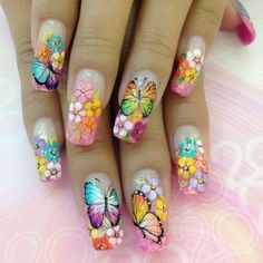 Butterfly nail art designs are loved by women because of its cute, colorful, beautiful patterns and symbolic significance, or simply because the design of butterfly nails has produced attractive effects on nails. Nail Art Designs, Butterfly Nail Designs, Butterfly Nail Art, Nail Designs Spring, Nails Design, Chic Nail Art, Chic Nails, Trendy Nail Art, Nagel Tattoo