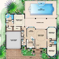Mediterranean Style House Plan - 3 Beds 2.50 Baths 1786 Sq/Ft Plan #27-435 Floor Plan - Main Floor Plan - Houseplans.com