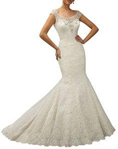 e63e0c720e2d DAPENE® Women's Satin Beaded Lace Mermaid Wedding Dress Bridal Gown at Amazon  Women's Clothing store: