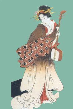 Geisha and shamisen
