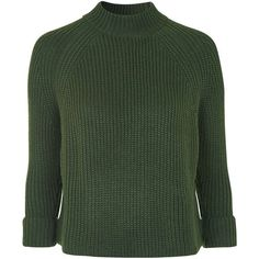 TopShop Boxy Cropped Jumper (265 NOK) ❤ liked on Polyvore featuring tops, sweaters, jumper, knitwear, khaki, high neck crop top, green jumper, topshop jumper, cropped jumper and boxy sweater