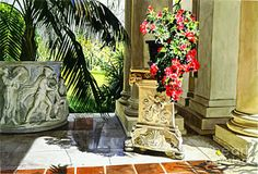Architecture Painting - Huntington Loggia by David Lloyd Glover