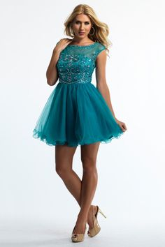 2014 Prom Dresses Bateau Neckline Off The Shoulder Short/Mini A Line Tulle Beaded Bodice USD 153.99 STPDEA8MM1 - StylishPromDress.com