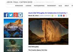 Honoured to write a guest blog post on 'expanding our personal creative space' on John Paul Caponigro's website. Part two follows tomorrow. Check it out. Thx JP! http://www.johnpaulcaponigro.com/blog/16674/alumni-olaf-willoughby-on-collaboration-creativity/