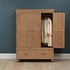 Wickham Washed Oak Triple Wardrobe - The Cotswold Company Pine Wardrobe, Triple Wardrobe, Wardrobe Design, Wardrobe Ideas, Heavy Clothing, Clothing Items, Stow Away, Handmade Furniture