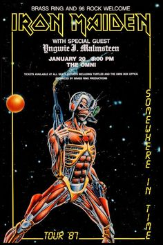 """IRON MAIDEN Concert Poster 1987 OMNI Atlanta Georgia * Somewhere in Time * $8.00 • 100% Mint unused condition • Well discounted price + we combine shipping • Click on image for awesome view • Poster is 12"""" x 18"""" • Semi-Gloss Finish • Great Music Collectible - superb copy of original • Usually ships within 72 hours or less with tracking. • Satisfaction guaranteed or your money back.Go to: Sportsworldwest.com"""