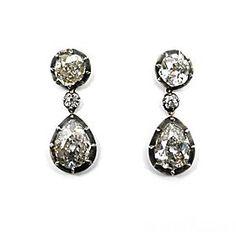 Antique Diamond drop earrings c 1840.    Source: SJ Phillips