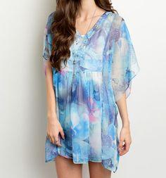 Boho Blue Daydreamer Swirl Kaftan Tunic
