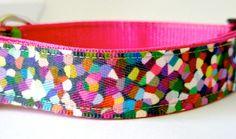 Dog Collar Multicolor Mosaic Small Medium by SweetiePieCollars