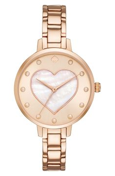 There's always time for love with this sweet rose-gold bracelet watch by Kate Spade.