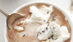 I have had it with white, here it is with dark... LAVENDER HOT CHOCOLATE