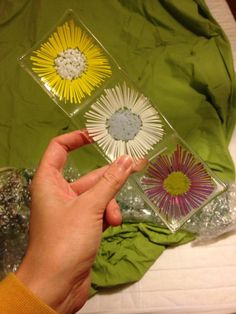 Flower stringer trio candle holder fused glass