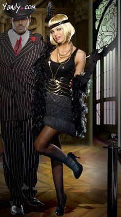 Aint Misbehavin Costume, Black Fringe Flapper Dress, Black Flapper Costume