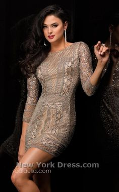 Scala 48377 Richly textured cocktail dress with sleeves by Scala