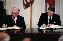 Ronald Reagan is president. Shown here with Soviet leader Mikhail Gorbachev. 1980s - Wikipedia, the free encyclopedia