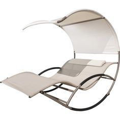 Relax by the pool or on your patio in chic style with this lovely chaise lounge, featuring a rocking design and overhead canopy.Produ...