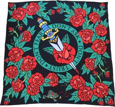 """Femme Fatale"" - Silk scarf, 100% silk classic carré 90cm (36"" square) by Hearbreak Salon. Premium silk charmeuse. Hand-rolled edge. Classic tattoo motif. #silkscarf #silkscarves #designersilkscarves #designerscarf #tattoo #tattooart #classictattoo"