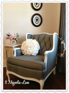 DIY Fabric Chair Makeover Project Painted Fabric & Wood