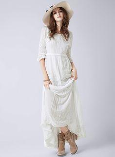Women boho dress Bohemian Long maxi Dress Embroidery Black white ... 6dda65130684