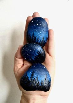Handful of Stars Three Small Handpainted Rocks by BallouSky