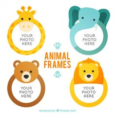 Exclusive animals vectors by Freepik. Frame Crafts, Diy Frame, Stars Classroom, Cuadros Diy, Diy And Crafts, Crafts For Kids, Cute Animals Images, Birthday Charts, Baby Posters