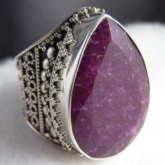 US 9 ~ Superb XL Sterling Silver ~ SilverSari Granulation Ring ~ INDIAN RUBY