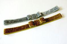 Gold and Silver Glitter Bow Headband Set