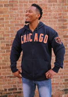 '47 Chicago Bears Mens Navy Blue Striker Long Sleeve Zip Fashion - Image 2 Chicago Bears T Shirts, Nfl Chicago Bears, A Team, Team Logo, Bear T Shirt, Fashion Images, Navy Blue, Zip, My Style