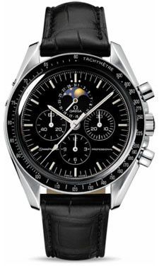 Omega Speedmaster Professional Moonwatch Watch. 42 mm stainless steel case, transparent back, tachymeter bezel, scratch-resistant sapphire crystal with anti-reflective treatment inside, brown dial, ma