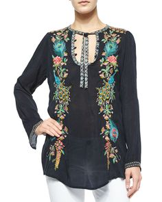 Long-Sleeve Peacock Embroidered Tunic, Size: XX-LARGE (16), Sanded Black - JWLA for Johnny Was