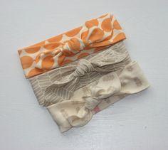 Organic. Baby Girl Headband Set. Modern meets Retro. Set of 3. Cotton Knit Stretchy. Newborn Gift. Shower Gift. Photo Prop.