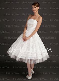 Wedding Dresses - $172.99 - A-Line/Princess Strapless Tea-Length Satin Tulle Wedding Dress With Ruffle Lace Beadwork (002015544) http://jjshouse.com/A-Line-Princess-Strapless-Tea-Length-Satin-Tulle-Wedding-Dress-With-Ruffle-Lace-Beadwork-002015544-g15544