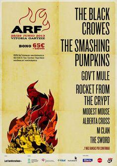 Entradas para Modest Mouse + Govt Mule + rocket from the crypt  + Alberta Cross + M Clan + The Sword + The Smashing Pumpkins + The Black Crowes en Vitoria el 28 de junio 2013 en notikumi