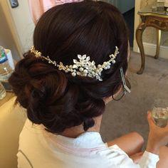 low curled bun wedding hair down hair up up do vintage messy sleek bridal hair dresser makeup artist Wirral Liverpool natural bride makeup