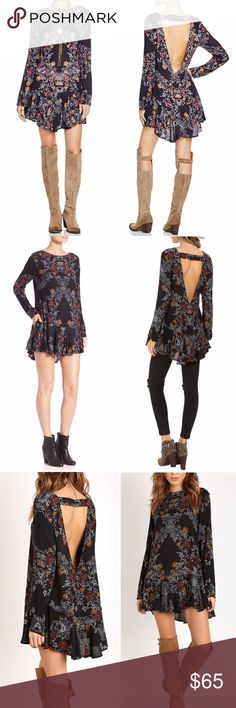 Free People Smooth Talker Tunic Dress Small FREE PEOPLE Smooth Talker Tunic - Color: Raven. Floral print, raven combo tunic, has an open v-back with a strap, a ruffled hem and side pockets on each hip. A gently flared hem and modified boat neck decorate this flattering smooth talking top. Loose fit intended  Works well as a top with jeans or as a dress.  Fabric: 60% Viscose 40% Rayon Care: Wash cold. Imported. Measurements: Length: 31 in Size and Fit: Model is in a size S; Model is 5 ft 8.5…