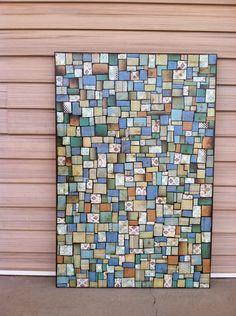 "Paper mosaic art on 24x36"" canvas."