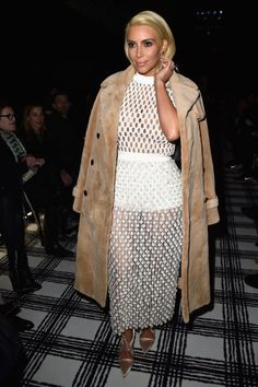 Kim Kardashian in a naked dress at the Balenciaga fall 2015 show. See all the other celebs who have DARED to try to trend.