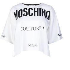 Moschino Monochrome Cropped Top (1.680 HRK) ❤ liked on Polyvore featuring tops, white, crew top, moschino top, white short sleeve top, crew neck top and moschino