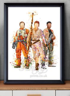 Star Wars The Force Awakens Finn, Poe Dameron, Rey Watercolor Art Silhouette Poster Print - Wall Decor - Watercolor Painting - Home Decor by GenefyPrints on Etsy https://www.etsy.com/au/listing/261659856/star-wars-the-force-awakens-finn-poe