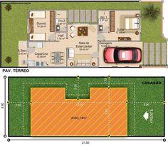 Projetar Casas | Casa térrea com garagem, 1 quartos e 1 suíte e jardim de inverno - Cód 30