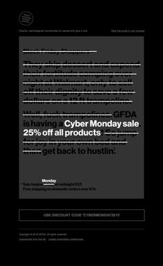 GFDA sent this email with the subject line: Cyber Monday – because you missed…