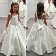 $89-Luxury Pretty Princess Satin Ball Gown Flower Girl Dresses For Weddings 2016 White Ivory First Holy Communion Dresses Bow Back