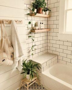 Modern Vintage Bathroom, Modern Small Bathrooms, Modern Bathroom Decor, Bathroom Interior, Bathroom Ideas, Scandinavian Bathroom, Bathroom Organization, Bathroom Storage, Bathroom Shelves