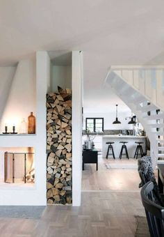 Smart Wood Storage Fireplace Solutions at House Home Living, Living Spaces, Living Area, Cabin Interiors, Design Interiors, My Dream Home, Interior And Exterior, Cabin Interior Design, Sweet Home
