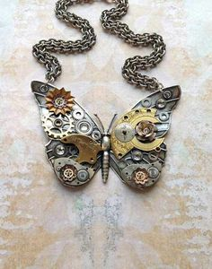 Steampunk butterfly necklace would look stunning over a wedding dress in muted colours