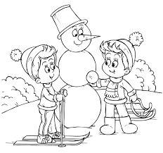 Noi planse de colorat: Copiii fac un om de zapada - Sfatulparintilor.ro