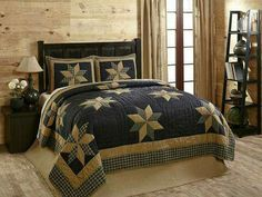 Take the Henry Star King Quilt Set home and awaken amidst the skies of the Tetons in patchwork artistry. Stunning Navy Blue Back with 8 pt patchwork stars. Colchas Country, Country Quilts, Country Primitive, Farmhouse Quilts, Country Bedding, Primitive Decor, French Country, Colchas Quilt, Quilt Bedding